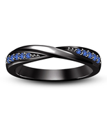 Black Rhodium Over 925 Sterling Silver Blue Sapphire Band Ring Size 5 6 7 8 9 10 - £49.00 GBP