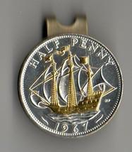 "British ½ penny ""Gold & Silver Sailing ship"" Coin Golf Marker - $85.00"