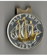 "British ½ penny ""Gold & Silver Sailing ship"" Coin Golf Marker - $85.00"