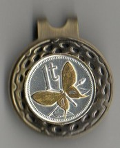 "Papa New Guinea 1 toea ""Gold & silver Butterfly"" Coin Golf Marker - $65.00"