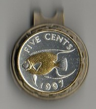 Bermuda 5 cent 2-Toned, Gold & Silver Angel fish, Coin Golf Marker - $62.00