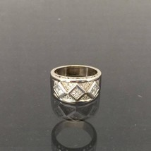 Vintage 18K Soild White Gold Princess & Round cut Diamond Band Ring Size... - $955.00