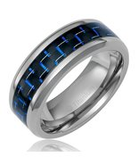8MM Mens Titanium Black & Blue Promise Ring Wedding Band Sizes 7-12 & Half - $32.95