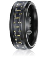 8MM Mens Titanium Black & Gold Promise Ring Wedding Band Sizes 7-12 & Half - $34.95