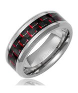 8MM Mens Titanium Black & Red Promise Ring Wedding Band Sizes 7-12 & Half - $29.95