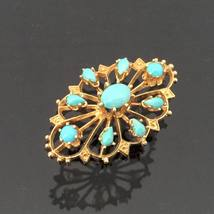 Vintage 1960s 14K Solid Yellow Gold 3.43ct Turquoise Filigree Charm Pend... - $595.00