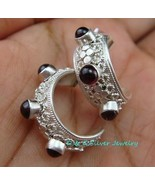 Gorgeous 925 Silver Bali Design Garnet Earrings ER-595-DG - $27.99