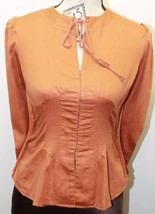BCBG Generation Corset Style Closure Long Sleeve Sexy Blouse Size 4 Rust Color - $28.04