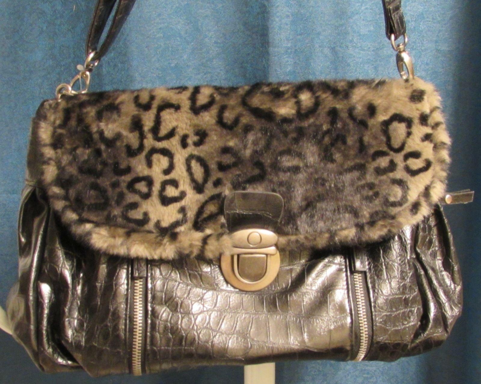 Bueno Women's Faux Leather Satchel/Shoulder Bag with Faux Fur Flap