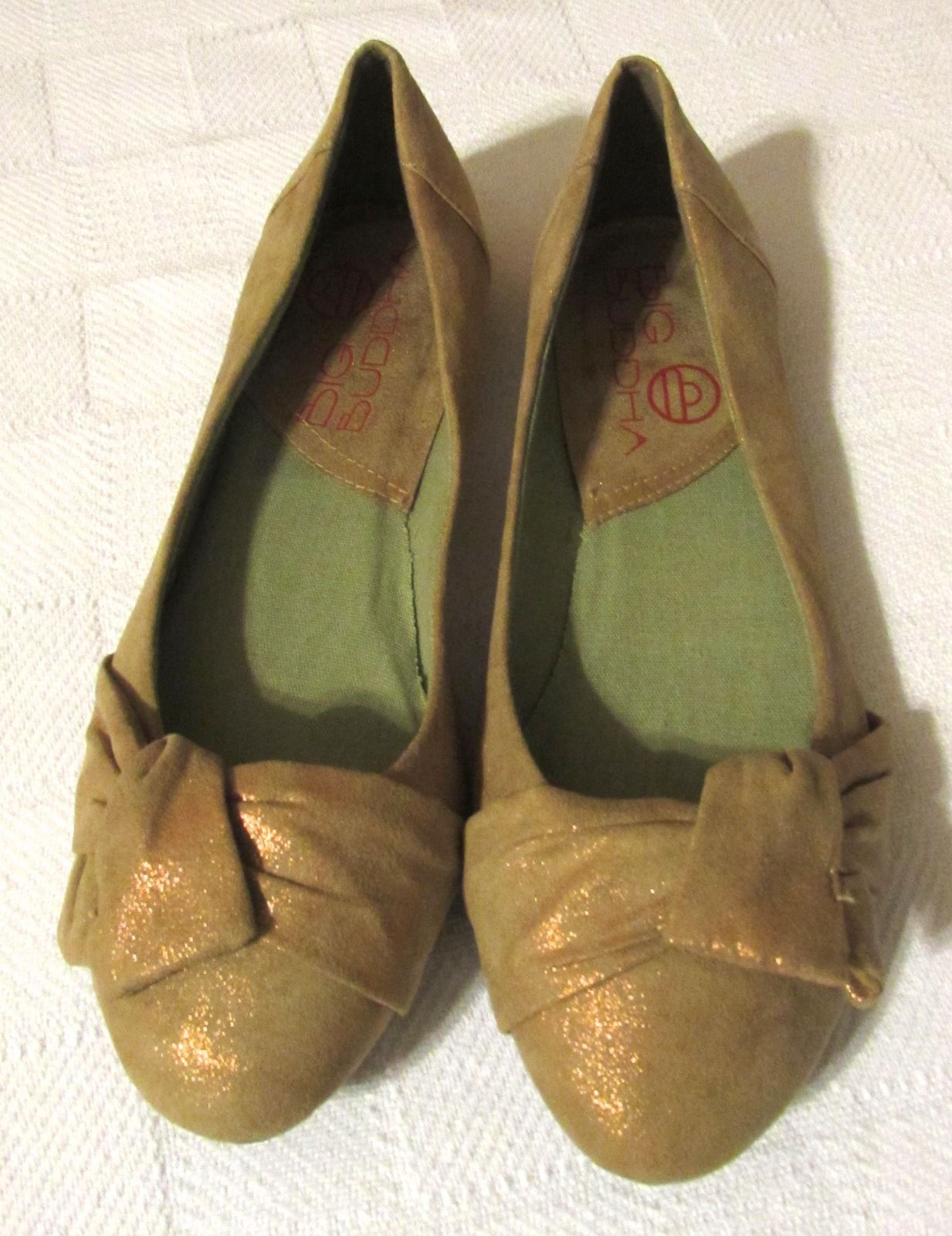 Big Buddha Women's Brush Gold Shimmer Fabric Ballet Flats w/Bow Size: 8.5 M