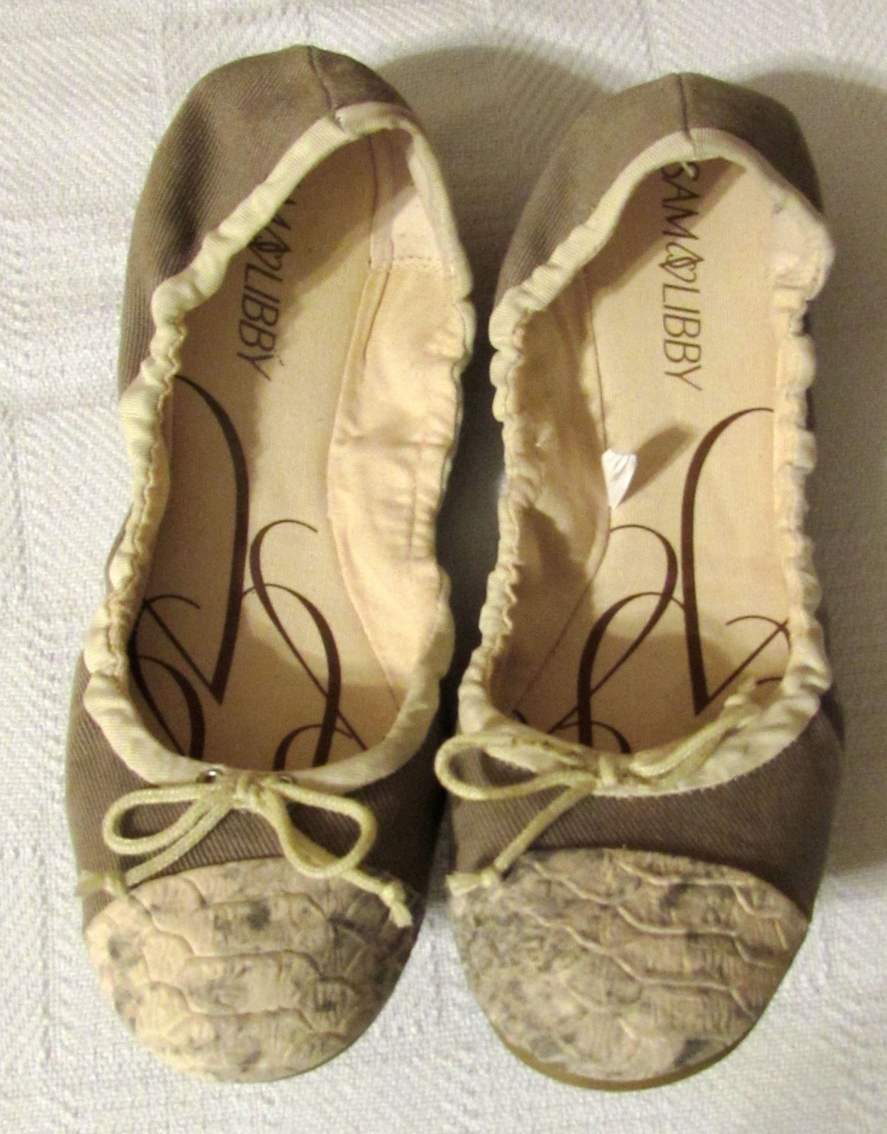 SAM & LIBBY Taupe Ballet Flats Python Snakeskin Faux Leather Toe Size: 7M