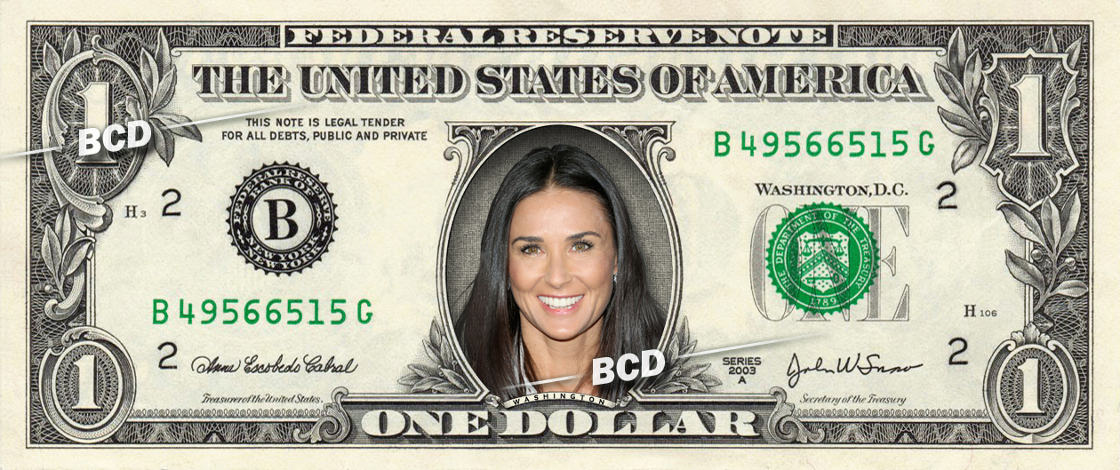 Primary image for DEMI MOORE on REAL Dollar Bill Collectible Celebrity Cash Money Gift