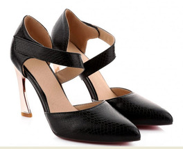526150 Elegant kitten heels pointed ankle pumps, magic tape, imitate sna... - $42.80