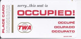 Trans World Airlines TWA Seat Occupied Place Card, Plastic Coated 1964 - $5.95