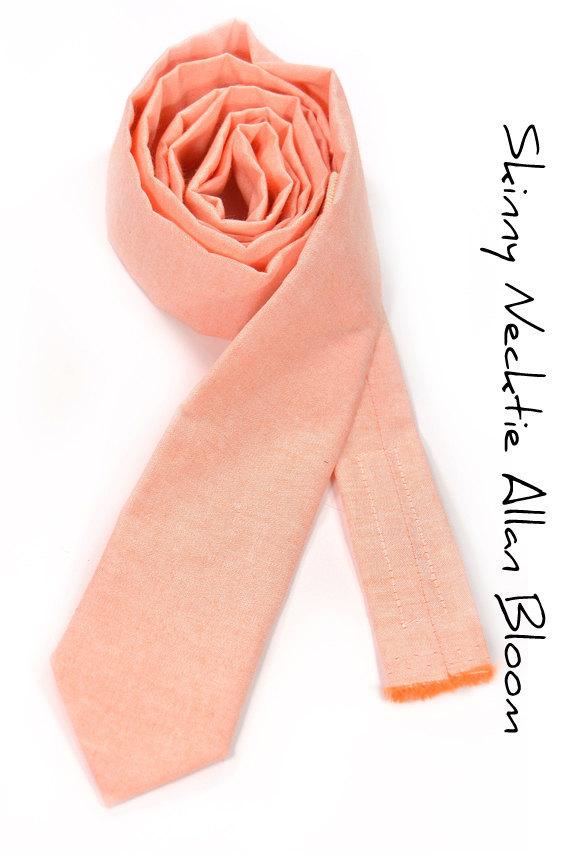 Light coral chambray peach Wedding Mens Tie Skinny Necktie Laid-Back necktie image 2