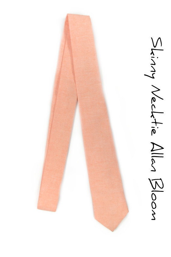 Light coral chambray peach Wedding Mens Tie Skinny Necktie Laid-Back necktie image 3