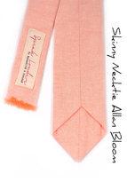Light coral chambray peach Wedding Mens Tie Skinny Necktie Laid-Back necktie image 4