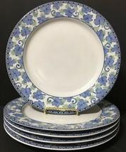 "Pfaltzfraff Blue Isle Set of 5 Dinner Plates Blue Green Leaves 10-5/8"" PD19 - $29.99"