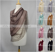 "70"" Long Scarf Shawl Lace Fringe Double Layer Floral Embroidery Solid Color - $13.45"