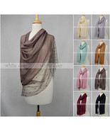 """70"""" Long Scarf Shawl Lace Fringe Double Layer Floral Embroidery Solid Color - $13.45"""