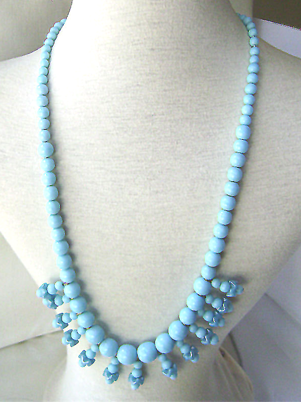 Vintage Turquoise Glass Bead Fringe Festoon Necklace 1960's