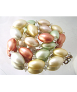 Vintage Pastel Big Oval Glass Pink Green Yellow Pearl Long Necklace  - $25.00