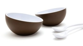 Desert Bowls Set 2 + 2 Spoon Funky SOHO Design Coconut Kitchen Home Bar ... - $17.00
