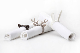 Party Tableware Napkin Rings Set 6 Home Gift Funky Design Zoo Rabbit Mou... - $21.56