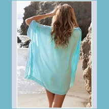 Lace Crochet Collar Pale Sea Green Chiffon Loose Sheer Beach Cover Up Tunic Top image 2