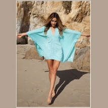 Lace Crochet Collar Pale Sea Green Chiffon Loose Sheer Beach Cover Up Tunic Top image 3