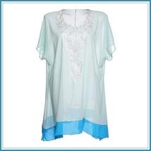 Lace Crochet Collar Pale Sea Green Chiffon Loose Sheer Beach Cover Up Tunic Top image 4