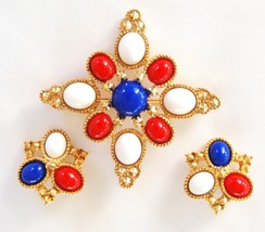 Sarah Coventry Americana Red White Blue Brooch Earring Set - $55.00