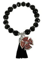 Fireman Firefighter Cross Black Glass & Stone Tassel Stretch Bracelet Jewelry - $15.83