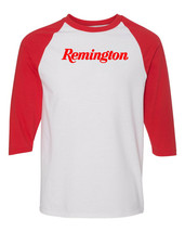 Remington Script Red Logo Raglan Baseball T Shirt Pro Gun Rights Rifle W... - $19.79+