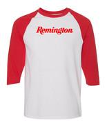 Remington Script Red Logo Raglan Baseball T Shirt Pro Gun Rights Rifle W... - $19.79+