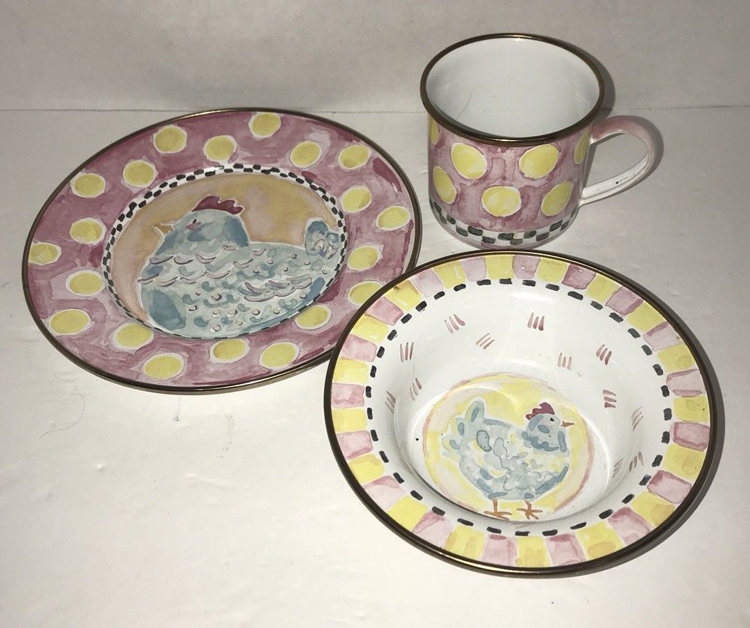 Mackenzie-childs Chicken Plate Cups, Dishes & Utensils