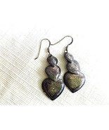 VINTAGE STERLING SILVER ETCHED DANGLE HEARTS EARRINGS SIGNED 925 SU THAI - $22.00