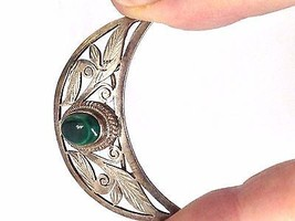 VINTAGE STERLING SILVER MALACHITE CUT OUT CRESCENT PIN 925 - $30.77