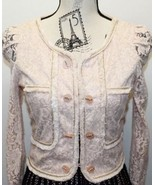 La Chapelle Lace Hot Pink Blush Blazer Velvet Focking Gold Thread Piping - $37.39