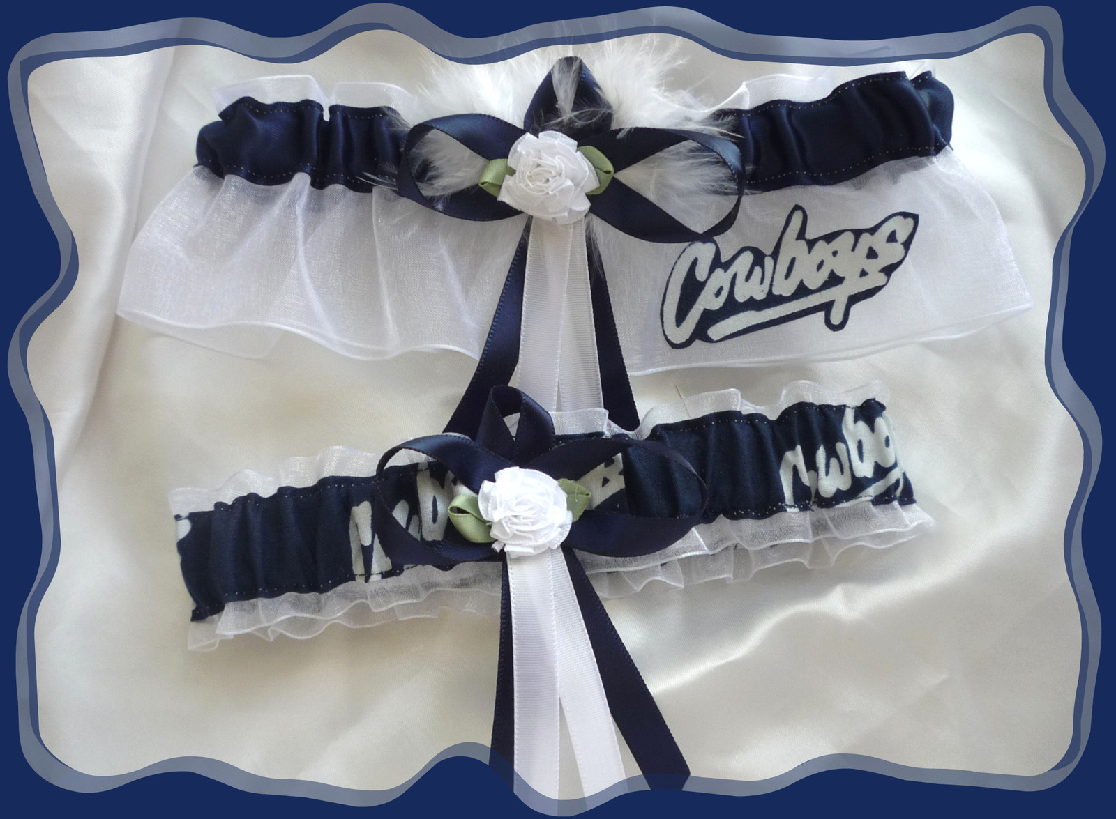 Primary image for Dallas Cowboys White Organza Fabric Flower Wedding Garter Set WB