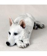 GERMAN SHEPHERD  (WHITE) MY  DOG  Figurine Statue Gift Resin Hand Painted - $35.99
