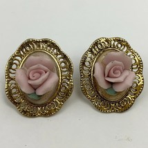 Vintage Porcelain Rose Filigree Earrings Pink Flower Floral Gold Tone En... - $11.84