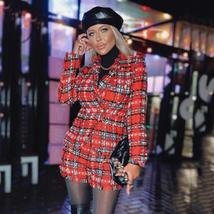 High Quality Red Plaid Slim Fit Blazer & High Waist Double Breasted Shorts Suit image 2