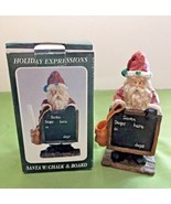 Holiday Expressions Santa with a Chalk Board Figurine Resin/Rustic Look ... - $8.90