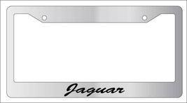 Chrome Metal License Plate Frame Cursive Jaguar Auto Accessory - $13.99