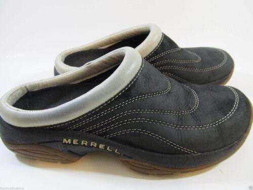 Merrell Womens Size 6.5 Moc Slides Shoes Black  Suede Tan Black Oyster Slip Ons