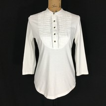 NEW Ralph Lauren Top Sm S Pure White Tux Pleat Bronze Logo Button Henley... - $16.95