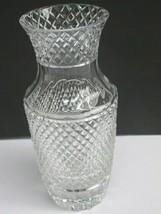 Hand Cut glass crosscut vase hand polished 24% lead crystal custom  - $92.22