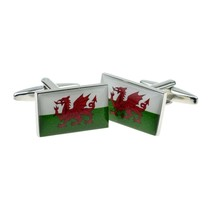 welsh flag design Cufflinks cuff links in gift box the green and white of wales