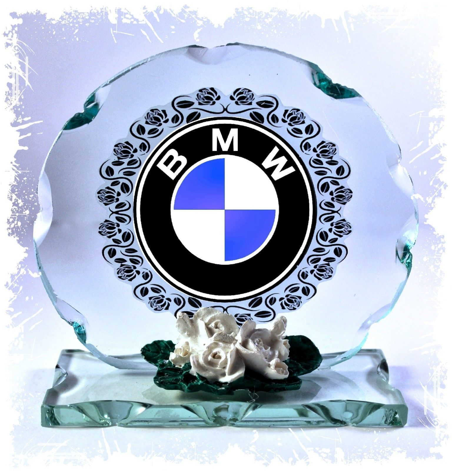 BMW LOGO Design Cut Glass Round Plaque Frame  #1